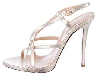Halston Metallic Leather Sandals