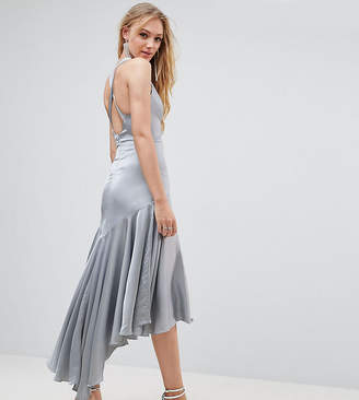 Jarlo Tall Drop Hem Pleated Midi Dress With Cross Back Detail