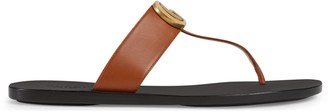 Gucci Leather thong sandal with Double G