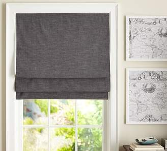 Pottery Barn Emery Linen/Cotton Cordless Roman Shade - Charcoal