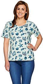 Denim & Co. Seashell Printed Short Sleeve ScoopNeck Top