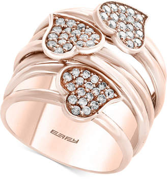 Effy Pave Rose by Diamond Heart Wrap-Style Ring (5/8 ct. t.w.) in 14k Rose Gold