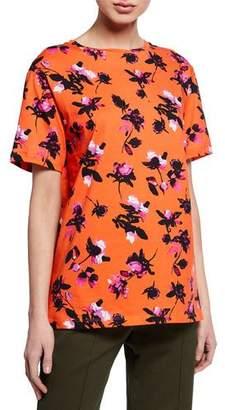 Derek Lam Short-Sleeve Floating Floral Print T-Shirt
