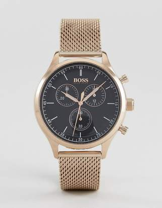 BOSS 1513548 Companion Chronograph Mesh Watch In Rose Gold
