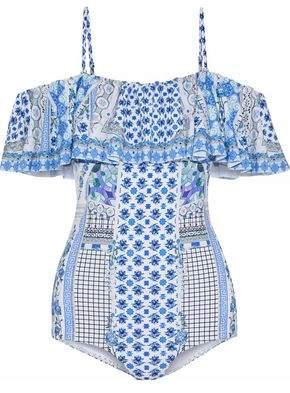 1aa455becb Camilla Salvador Summer Cold-shoulder Embellished Printed Swimsuit