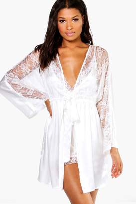 boohoo Connie Bridal Lace Short Satin Night Robe