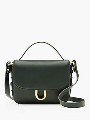 J.Crew Cont Leather Cross Body Bag, Green Emerald