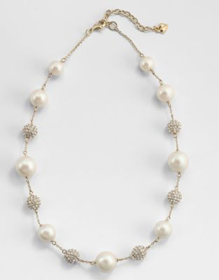 Carolee Faux Pearl and Pavé Gold Illusion Necklace