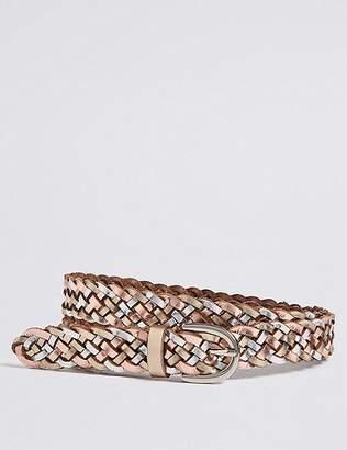 Marks and Spencer Leather Metallic Weave Hip Belt