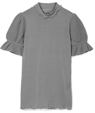 Co Crochet-trimmed Stretch Cotton-blend Jersey Turtleneck Top - Gray