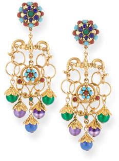 Jose & Maria Barrera Multicolor Chain Clip-On Chandelier Earrings