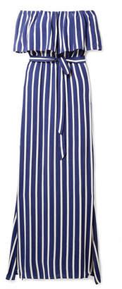 Alice + Olivia Grazi Off-the-shoulder Striped Voile Maxi Dress - Blue