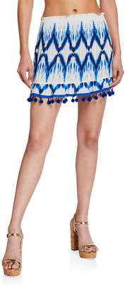 Ramy Brook Stevie Ikat-Printed Pom-Pom Mini Skirt