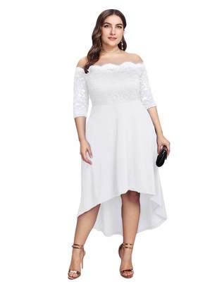 GMHO Women's Plus Size Floral Lace Off-The-Shoulder Cocktail Formal Swing Dress (,W)