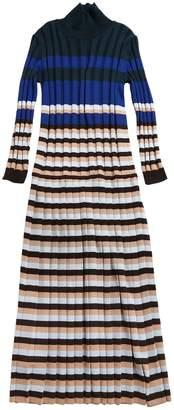 Pleated Striped Wool Knit Long Dress