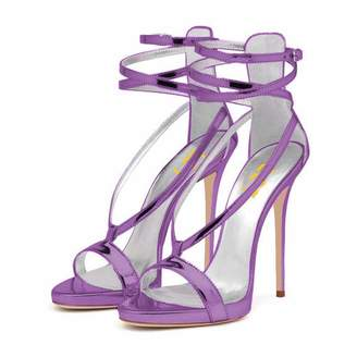 fc3f34cad32 FSJ Women Sexy Strappy Sandals for Wedding Open Toe Metallic High Heels  Pumps Shoes Size 14
