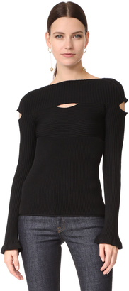 Cushnie Et Ochs Boat Neck Top with Cutouts $695 thestylecure.com