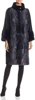 Maximilian Furs Lamb Shearling Coat with Mink Fur Collar