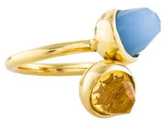 Kara Ross 18K Citrine & Dyed Chalcedony Cocktail Ring