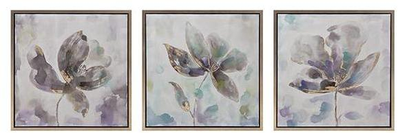"""Home Decorators Collection 24 in. x 24 in. """"Pastel Flowers"""" 3-Piece Framed Wall Art"""