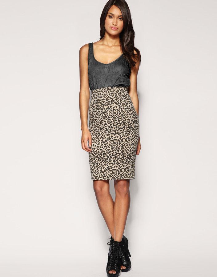 ASOS Tailored Animal Print Pencil Skirt