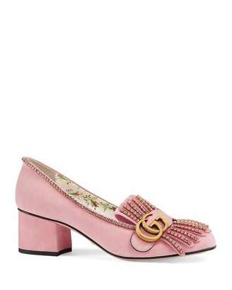 Gucci Marmont Suede Embellished Pump