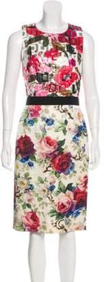 Dolce & Gabbana Crew Neck Midi Dress Pink Crew Neck Midi Dress