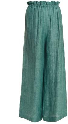 Masscob Elasticated-waist wide-leg linen-blend trousers