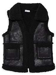 Splendid Little Girl's& Girl's Sherpa-Lined Faux Leather Vest
