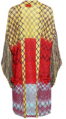 Missoni Fringe-trimmed Metallic Crochet-knit Cardigan