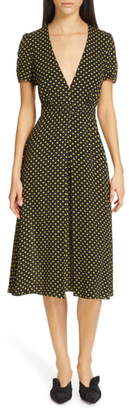 N°21 N21 N?21 Plunging Polka Dot Midi Dress