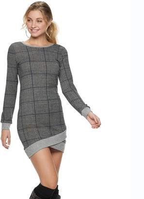 Almost Famous Juniors' Crossover-Hem Sweater Dress