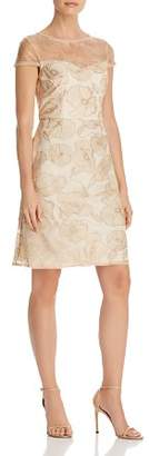 Adrianna Papell Metallic Embroidered Dress