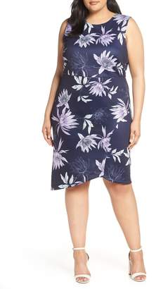 Vince Camuto Asymmetrical Floral Sheath Dress