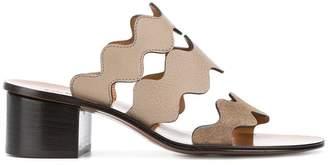 Chloé Grey Wavy Three-Strap Sandals