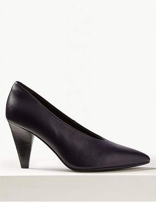 Marks and Spencer Leather High Cut Pointed Court Shoes
