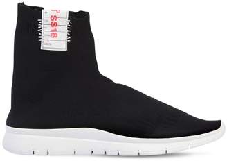 Joshua Sanders Destroyed Nylon High Top Sock Sneakers