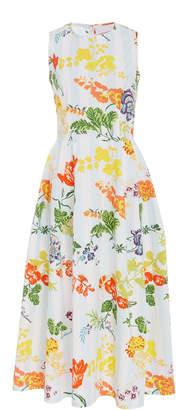 Carolina Herrera Bloom Floral Stripe Cotton Sleeveless A Line Dress