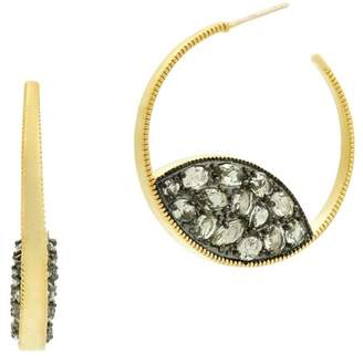 Freida Rothman Rose d'Or 14K Yellow Gold & Black Rhodium Plated Pave CZ 35mm Open Hoop Earrings