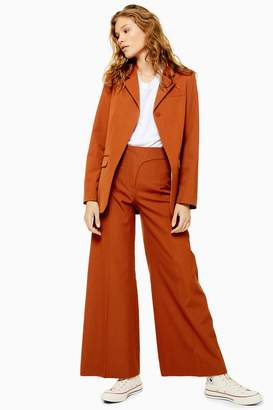 Topshop Womens **Wool Wide Leg Trousers By Boutique - Rust