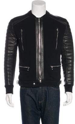 Balmain Leather-Trimmed Biker Jacket