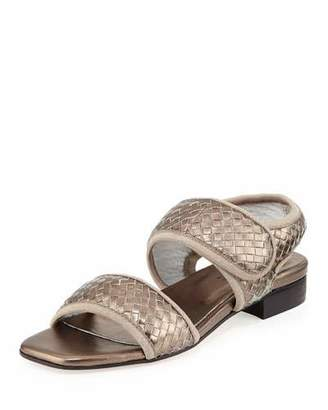Sesto Meucci Gryta Woven Leather Flat Sandal, Pewter $225 thestylecure.com