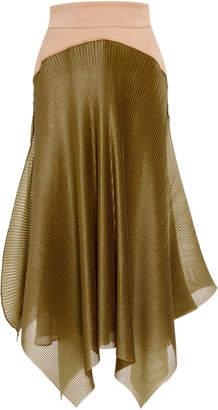 Maticevski Gratitude Asymmetric Pleated Faille Midi Skirt