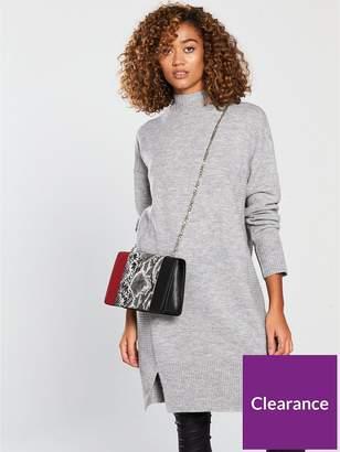 Very Rib Detail Split Hem Slouch Knitted Jumper Dress - Grey Marl