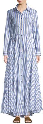 Evi Grintela Juliette Striped-Cotton Maxi Shirtdress