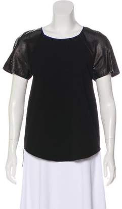 Rebecca Taylor Leather-Paneled Short Sleeve Top