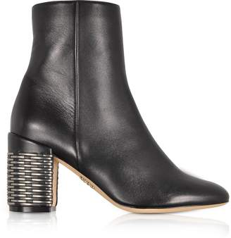Rodo Black Leather Booties w/Silver Woven Leather Heel