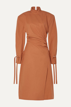 Acne Studios Deera Ruched Cotton-poplin Dress - Orange