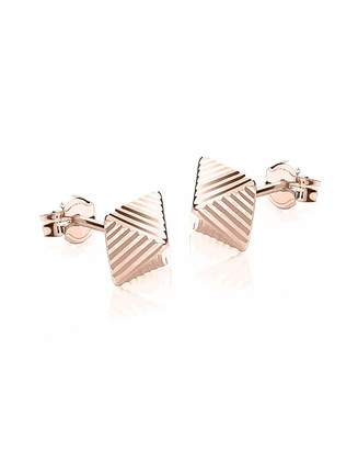 Fashion World 9Ct Gold Pyramid Stud Earrings