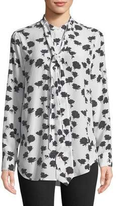 Equipment Carleen Tie-Neck Floral-Print Silk Blouse